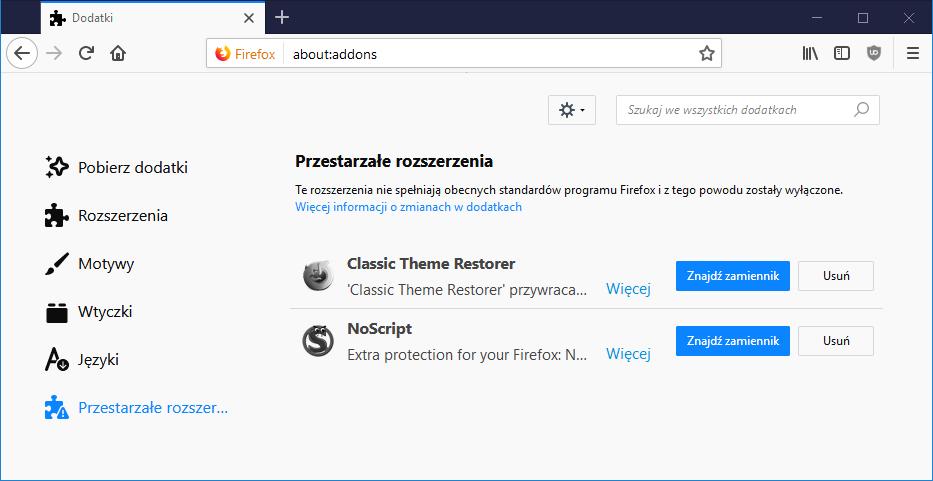 Как использовать старые дополнения Firefox после обновления браузера