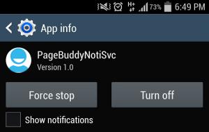 Отключить или заблокировать уведомления из PageBuddyNotiSvc