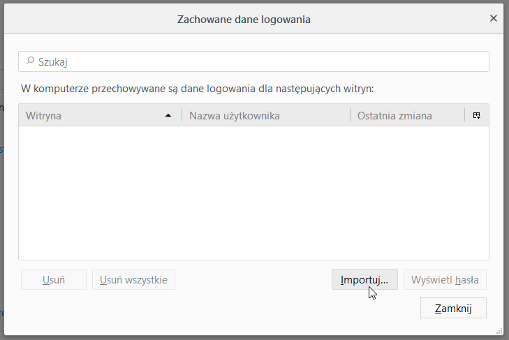 Возможность импортировать пароли в Firefox