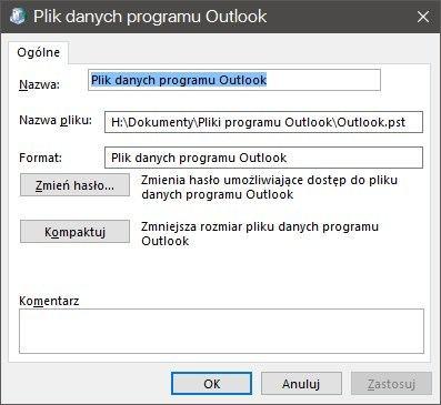 Параметры файла данных PST