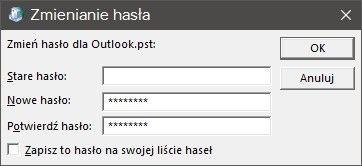 Установка пароля для профиля Outlook